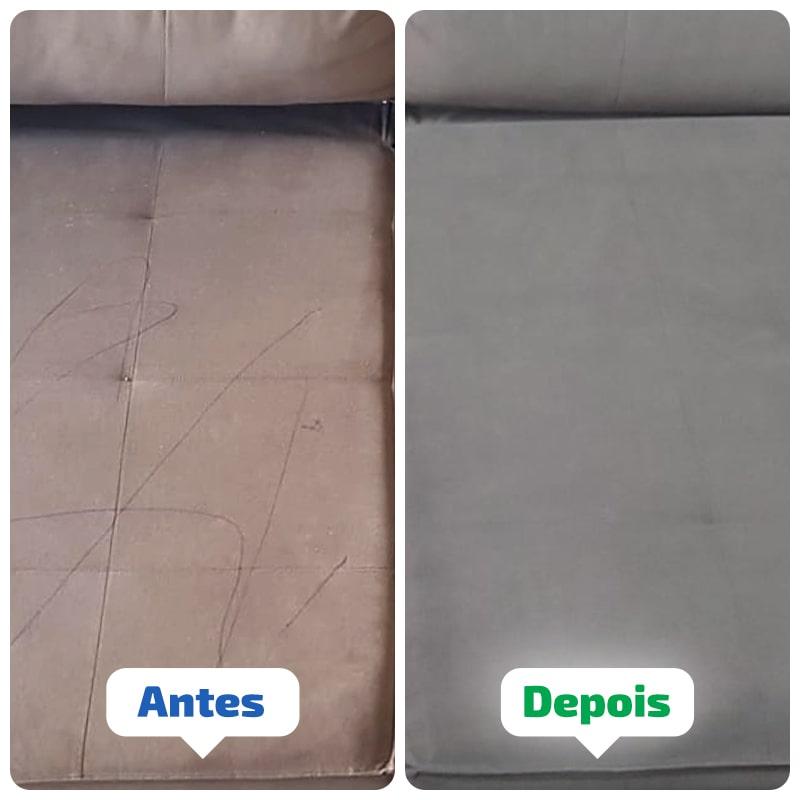 Antes e depois da Limpeza de Sofá